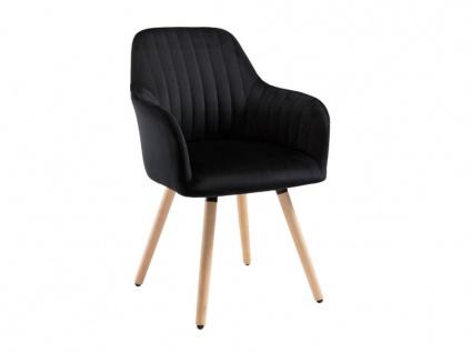 Stuhl mit Armlehnen Samt & Metall Holzoptik ELEANA - Schwarz