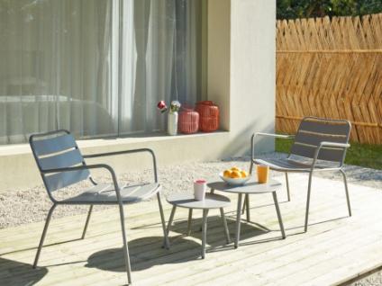 Garten Sitzgruppe Metall MIRMANDE - 2 Sessel & Couchtisch-Set - Grau