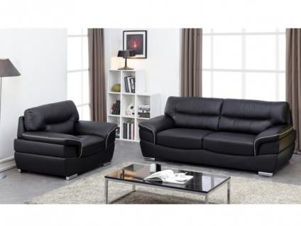 Couchgarnitur Leder 3+1 THIBAULT - Schwarz