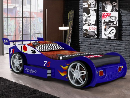 Kinderbett Spielbett RUNNER + Lattenrost - 90x200 cm - Blau
