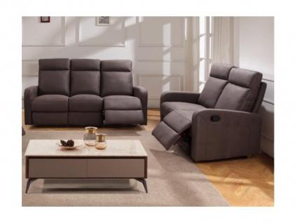 Couchgarnitur Relax Stoff 3+2 CARLINA - Braun