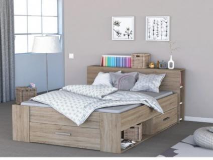 bett mit stauraum leonis 140x190cm eichefarben. Black Bedroom Furniture Sets. Home Design Ideas