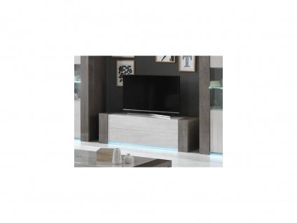 TV-Möbel mit LED-Beleuchtung ZEKIO - 2 Schubladen - Weiß & Beton-Optik