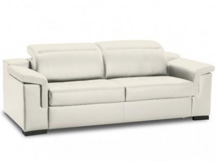 Schlafsofa Leder Express Bettfunktion mit Matratze 3-Sitzer Hippias - Standardleder - Weiß
