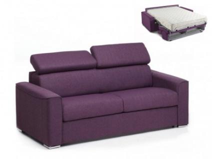 Schlafsofa 3-Sitzer Stoff VIZIR - Violett - Liegefläche: 140 cm - Matratzenhöhe: 18cm