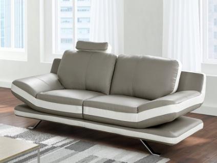 2-Sitzer Sofa Leder LATIKA - Grau/Elfenbein