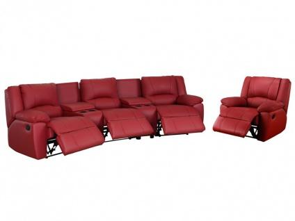 Relaxgarnitur 3+1 AROMA - Leder - Rot