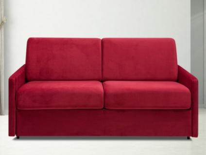 Schlafsofa 3-Sitzer Samt CALIFE - Rot - Liegefläche: 140 cm - Matratzenhöhe: 14cm