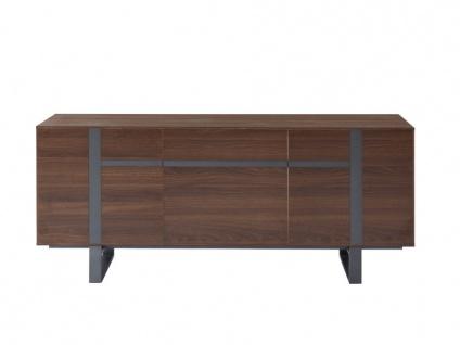 Sideboard PETILLANTE - 3 Türen & 1 Schublade - Nussholzfarben - Vorschau 3