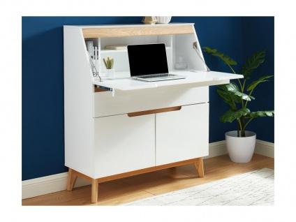 Sekretär LAPONI - 2 Türen & 2 Schubladen - MDF lackiert - Weiß