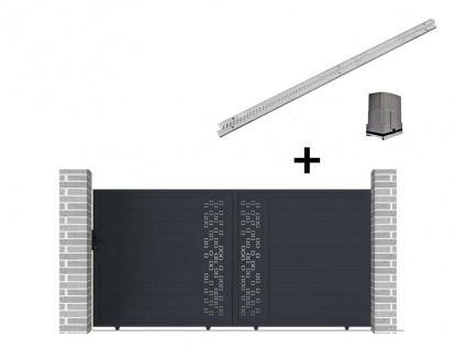 Gartentor Schiebetor NOIRAM - Aluminium - mit Torantrieb - B350 x H173 cm