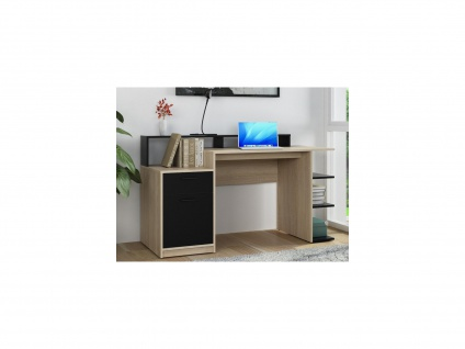 Schreibtisch mit Stauraum ZACHARIAS III - Eichefarben & Anthrazit