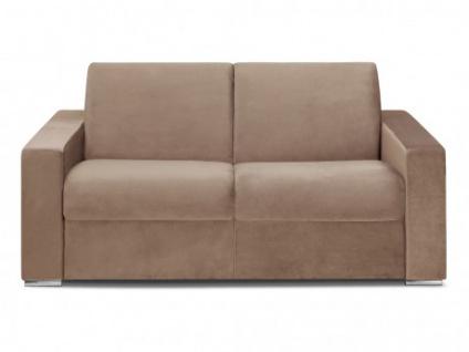 Schlafsofa 2-Sitzer Samt CALITO - Beige - Liegefläche: 120 cm - Matratzenhöhe: 14cm