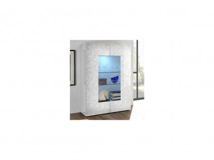 Vitrinenschrank mit LED-Beleuchtung ERIS - Weiß lackiert