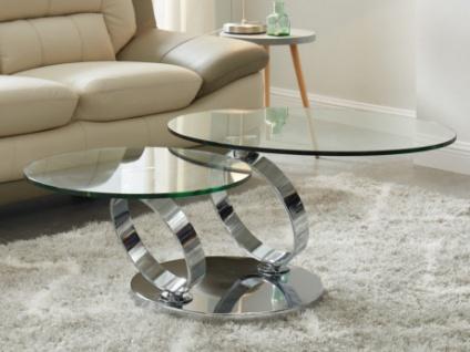 Couchtisch mit drehbaren Tischplatten Sicherheitsglas & Metall JOLINE