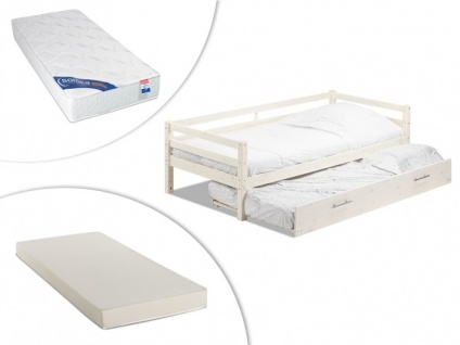 Set Ausziehbett AEDAN + Lattenrost + 2 Matratzen - 2x90x190cm - Weiß