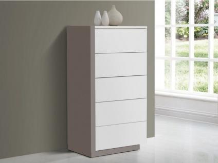 Hochkommode NAPOLI - 5 Schubladen - Weiß & Grau