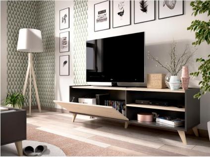TV-Möbel KOLYMA - 1 Tür & 2 Ablagen - Eiche & Anthrazit - Vorschau 5