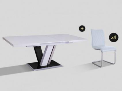 Essgruppe WESTON: Esstisch + 4 Stühle
