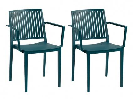Stuhl stapelbar mit Armlehnen 2er-Set BAIA - Polypropylen - Blau