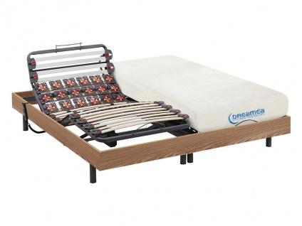 Matratzen elektrischer Lattenrost 2er-Set mit Viscoschaum und Okin-Motor DIONYSOS von DREAMEA - Eichenholz - 2x90x200 cm