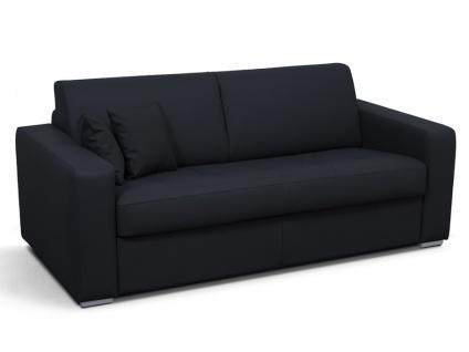 Schlafsofa 3-Sitzer EMIR II - Kunstleder - Schwarz - Liegefläche: 140 cm - Matratzenhöhe: 18 cm