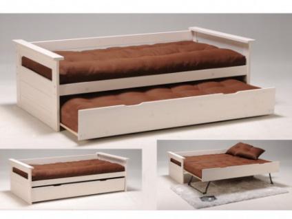Ausziehbett Massivholz ALFONSO + Lattenrost - 2x90x190cm - Weiß