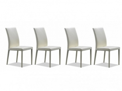 Stuhl Leder 4er-Set Atalante - Weiß