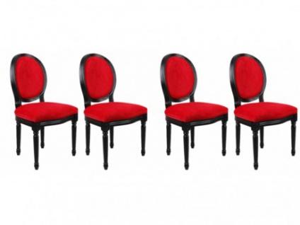 Stuhl 4er-Set Samt Louis XVI - Rot