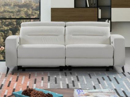 Relaxsofa 3-Sitzer Incliner Leder PAULY - Weiß