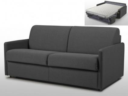 Schlafsofa 3-Sitzer Stoff CALIFE - Grau - Liegefläche: 140 cm - Matratzenhöhe: 14cm