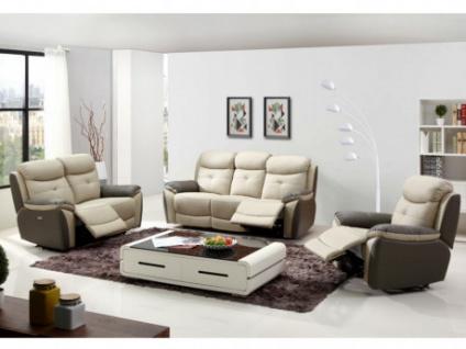 Garnitur Relax 3+2+1 Leder LUGO - Anthrazit/Taupe