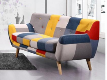 2-Sitzer-Sofa Stoff SERTI - Patchwork Gelb/Blau
