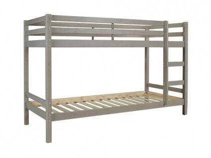 Etagenbett Massivholz ANICET - 2x90x200cm - Kiefer Grau