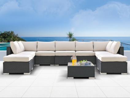 Polyrattan 7-Sitzer Alanda mit Gartentisch und 2 Hockern - Anthrazit & Beige