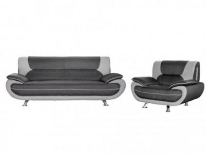 Couchgarnitur Stoff 3+1 Nigel - Grau