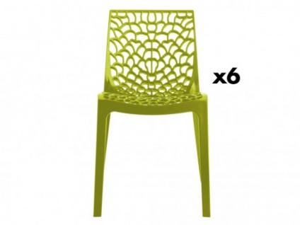 Stuhl 6er-Set Diadem - Kunststoff - Anisgrün