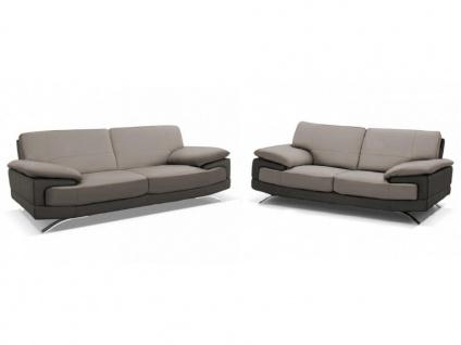 Couchgarnitur Leder 3+2 EMOTION - Luxusleder - Grau & Anthrazit