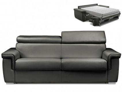 Schlafsofa 4-Sitzer ALTESSE - Anthrazit mit Ziernaht Schwarz - Liegefläche: 160cm - Matratzenhöhe: 22cm