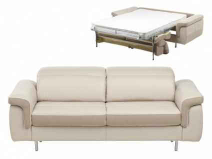 Schlafsofa Leder Express Bettfunktion mit Matratze 3-Sitzer Mayeul - Beige