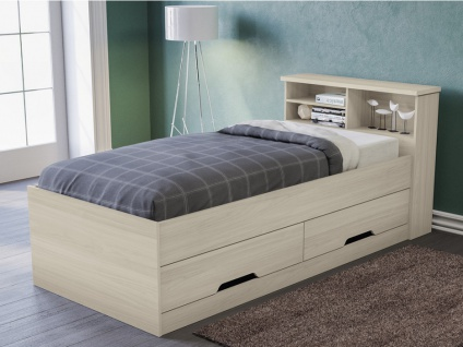 Bett mit Bettkasten BORIS + Lattenrost - 90x190cm - Eichenholzfarben