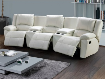 Relaxsofa Leder 3-Sitzer Aroma - Elfenbein