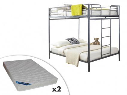 Set Etagenbett mit Bettboden GEMINI II + 2 Matratzen - 2x140x190cm