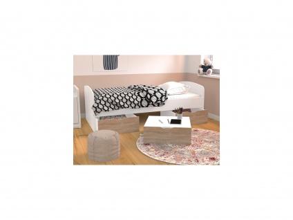 Bett LOUANE - 2 Schubladen & 1 Bettkasten - 90 x 190 cm - Weiß & Eiche