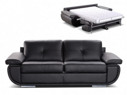 Schlafsofa mit Matratze 3-Sitzer Leder ORGULLOSA II - Luxusleder - Schwarz