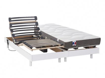 Matratzen elektrischer Lattenrost 2er-Set 100% Latex ANAKE - Weiß - 2x90x200 cm
