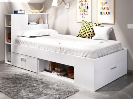 Bett mit Stauraum & Schubladen LEANDRE - 90x190 cm - Weiß
