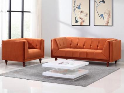 Couchgarnitur Samt BENICIO 3+1 - Terracotta