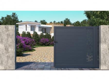 Gartentor Schiebetor NOIRAM - Aluminium - B350 x H173 cm