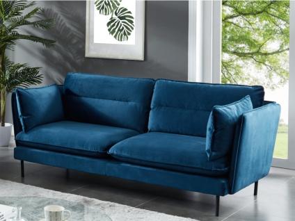 3-Sitzer-Sofa Samt MONVAL - Blau